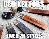 "1"" Wide Leather Key Fob Strap - Gaming - D&D Classes, Attributes, Dungeon Master - Color Choice"