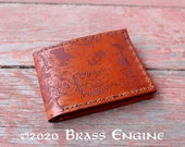 Middle Earth Map Leather Bifold Wallet - Hand stitched - Laser Etched - Tan LOTR Hobbit - Personalized