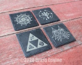 Legend of Zelda Etched Slate Coasters - Gray - Set of 4 - Triforce Sheikah Majora's Mask