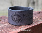 "Supernatural 1.5"" Leather Cuff - Multiple Sizes Adjustable Snap - Color Choice - Saving People Hunting Things"