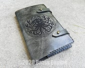 Black Book 'Moleskine' Notebook Cover 8.25x5.25 - Hand stitched - Laser Etched - Smoke Black Skyrim Elder Scrolls Spellbook