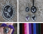 Cameo - Dragon - Pendant, necklace or choker - Black, white, purple