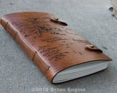 Thorin's Map Leather Sketch Journal 6x9 - 120 pages - Hand Bound - Laser Etched - Briar Brown - Lonely Mountain LOTR