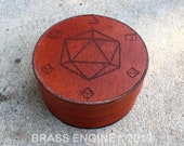 Minimalist Die Round Decorative Dice Box - Hand stitched - Laser Etched - Tan DnD Dice Tray D20 - Color Choice