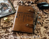 Quest Journal 'Moleskine' Notebook Cover 8.25x5.25 - Hand stitched - Laser Etched - Briar Brown D&D Dugneons and Dragons