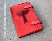 Alteration 'Moleskine' Notebook Cover 8.25x5.25 - Hand stitched - Laser Etched - Red Skyrim Elder Scrolls Spellbook