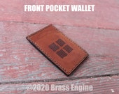 Elements Leather Front Pocket Wallet - Hand stitched - Laser Etched - Tan Fifth Element scifi