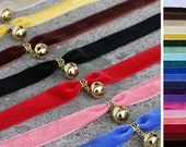Wide velvet gold bell choker - Many color choices- Black, red, pink, purple, blue, green, yellow, brown, white