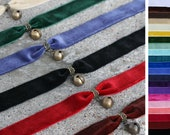 Wide velvet bronze/aged brass bell choker - Many color choices- Black, red, pink, purple, blue, green, yellow, brown, white