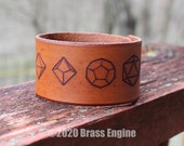 "Minimalist Dice 1.5"" Leather Cuff - Multiple Sizes Adjustable Snap - Color Choice - Gaming RPG D&D"