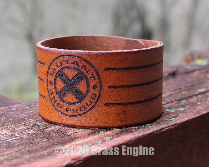 Mutant and Proud 1.5 Leather Cuff  Multiple Sizes image 0