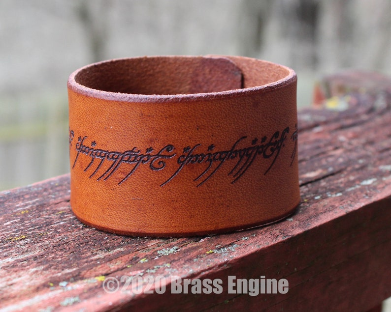One Ring Script 1.5 Leather Cuff  Multiple Sizes image 0
