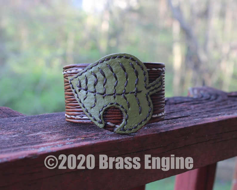 Animal Crossing Leaf 1.5 Leather Cuff  Size Choice image 0