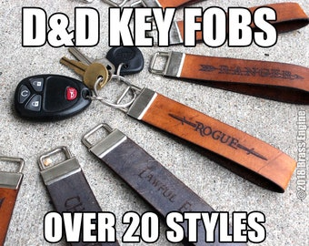 """1"""" Wide Leather Key Fob Strap Lanyard - Gaming - D&D Classes, Attributes, Dungeon Master - Color Choice - Personalized"""
