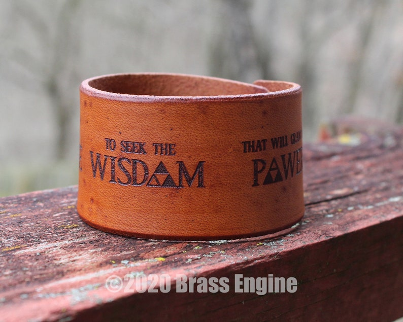 Courage Wisdom and Power Quote 1.5 Leather Cuff  image 0