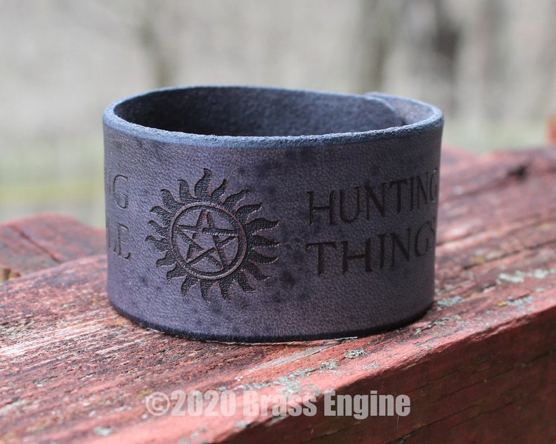 Supernatural 1.5 Leather Cuff  Multiple Sizes image 0