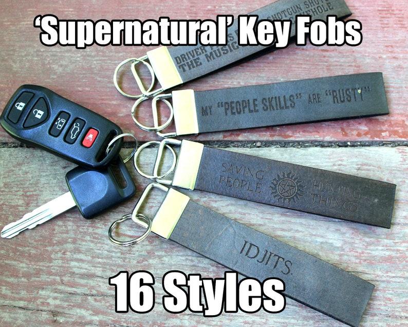 1 Wide Leather Key Fob Strap Lanyard  Supernatural image 0