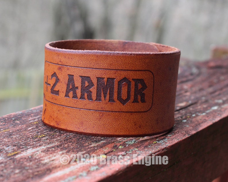 Increase Armor Stat 1.5 Leather Cuff  Multiple Sizes image 0