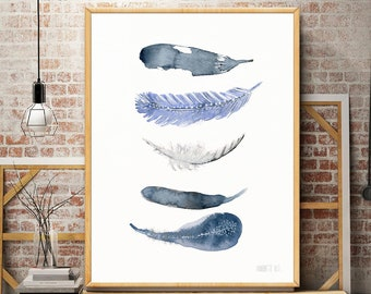Watercolor feather art print from original artwork by Annemette Klit. Minimalistic art. Modern wall art. Coastal art print. Affiche scandi.