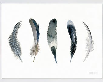 Vertical black&white feather watercolor art print, bird feather painting by TheClayPlay, Black wall art, Coastal and beach home decor,