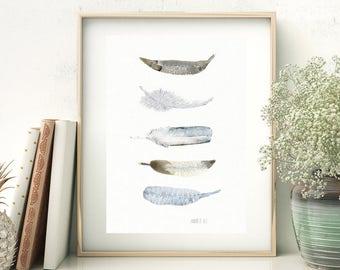 White art. Black and white wall art. White feathers art print. White feather art print from watercolour painting. White feather artwork.