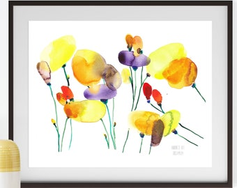 Yellow poppies wall art. Poppy flower illustration. Wild flowers painting. Floral poster. Watercolor poppies art print. Abstract flower art.