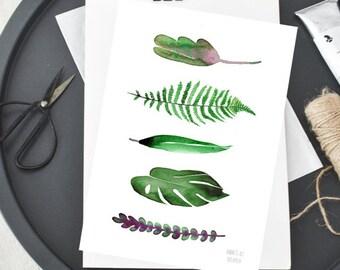 Grüne Blätter botanisches Kunstwerk aus Aquarell von Annemette Klit grünen Blätter Farn Monstera Bambus saftige Pflanze-Kunst-illustration