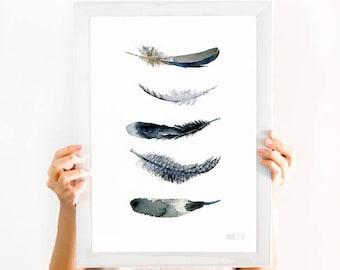 Schwarz und weiß Kunstdruck. Minimalistische schwarz-weiß Wandkunst. Schwarze Feder Kunstdruck von original-Aquarell. Feder-Kunst