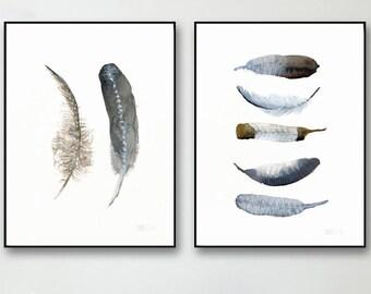 Satz von Kunstdrucken. 2 Feder-Wand-Kunst. Minimalistische Poster. Set aus 2 nordischen Aquarelle. Skandinavische Wandkunst. Affiche Scandi.