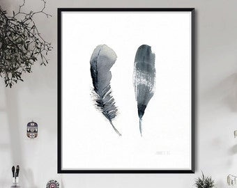 Black feathers print | Feather artwork - 2 Feathers art print from watercolor painting by Annemette Klit - giclee artwork of bird feathers