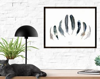 Feather artwork. Black feather watercolor art print.B&W feather watercolour. Bird feather painting by TheClayPlay: Coastal beach wall art