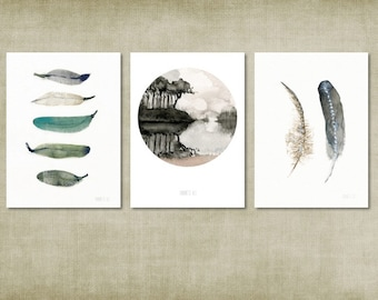 Watercolor painting set of 3 prints. A5 size on eco-friendly and recycled paper. Feathers and scenic illustration. Home decor water-colour
