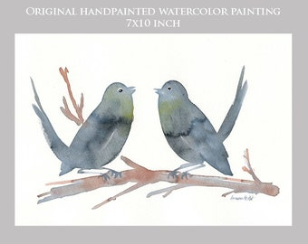 Handpainted original painting of 2 love birds. Original watercolour. Bird paintings. Original painting. Bird watercolor. ooak art. Bird art.