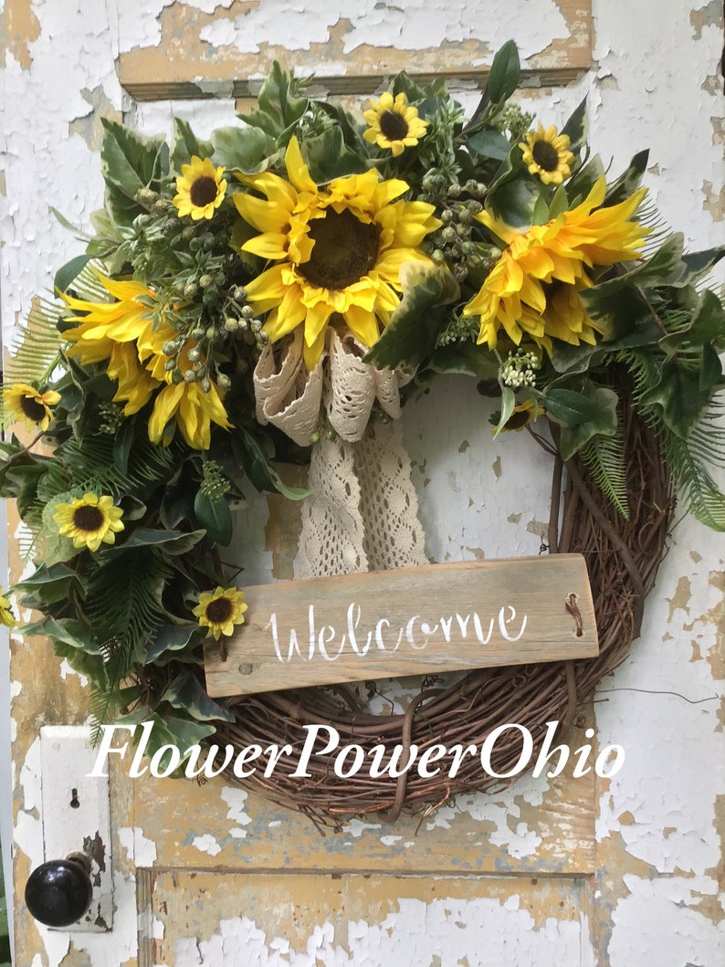Rustic Summer Wreath For Front Door Fall Wreath Sunflower Wreath