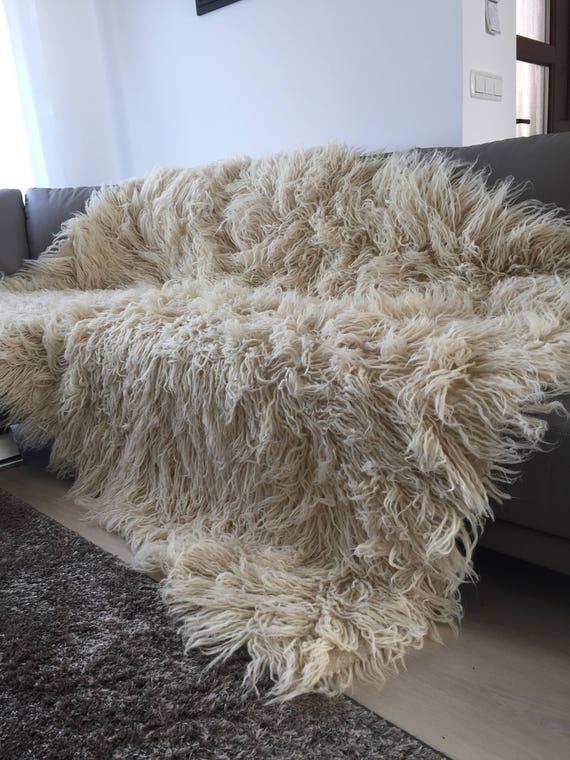 Handwoven Flokati Wool Area Rug Transylvania Bed Throw Etsy Unique Flokati Throw Blanket