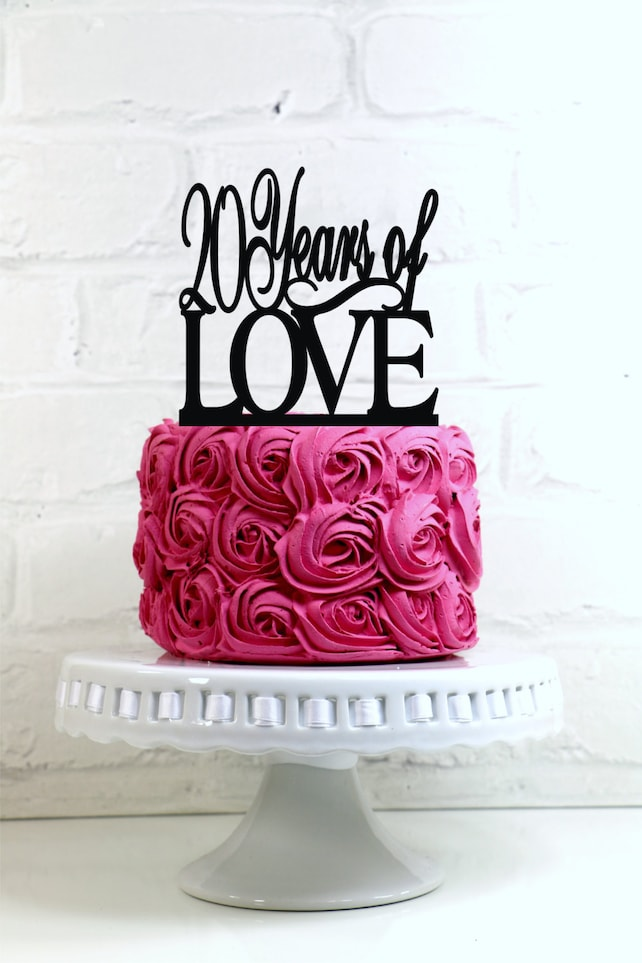 Anniversary Cake Topper 20 Years Of Love 20th Or Birthday Glitter Decoration