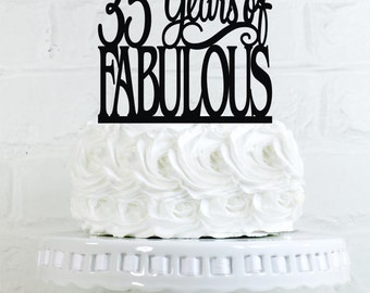 Birthday Cake Topper 35 Years of Fabulous 35th Birthday Cake Topper or Sign Glitter Cake Topper Cake Decoration