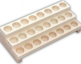 """Wooden Display Rack Product Bottles of 1.25"""" Outer Diameter - 3 Row Bottle Display Rack - Holds 24 Bottles"""