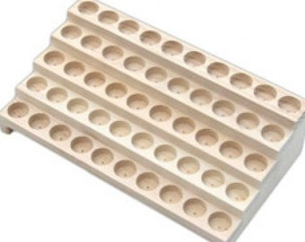 """Wooden Display Rack Product Bottles of 1.25"""" Outer Diameter - 5 Row Bottle Display Rack - Holds 50 Bottles"""
