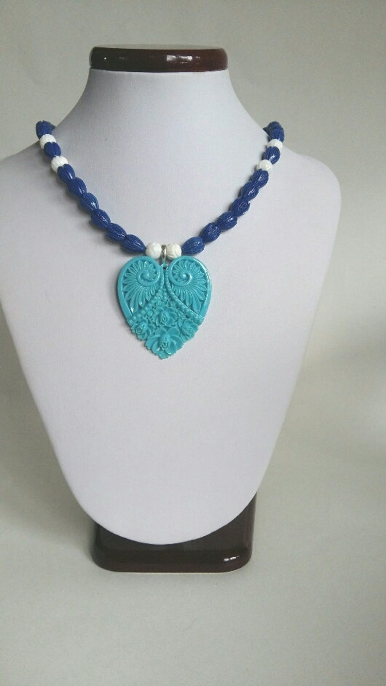 Women  Blue Tulips Sea Shell Necklace Sea Sell Necklace Blue Pendant Blue Tulips Beads Necklace Sea Shell Necklace Women Blue Necklace
