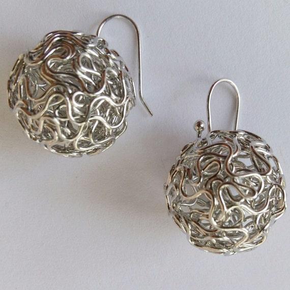 Dangle Earrings Teens Earrings Silver Tone Earrings Ball Earrings Twist Wire Ball Earrings Women Earrings