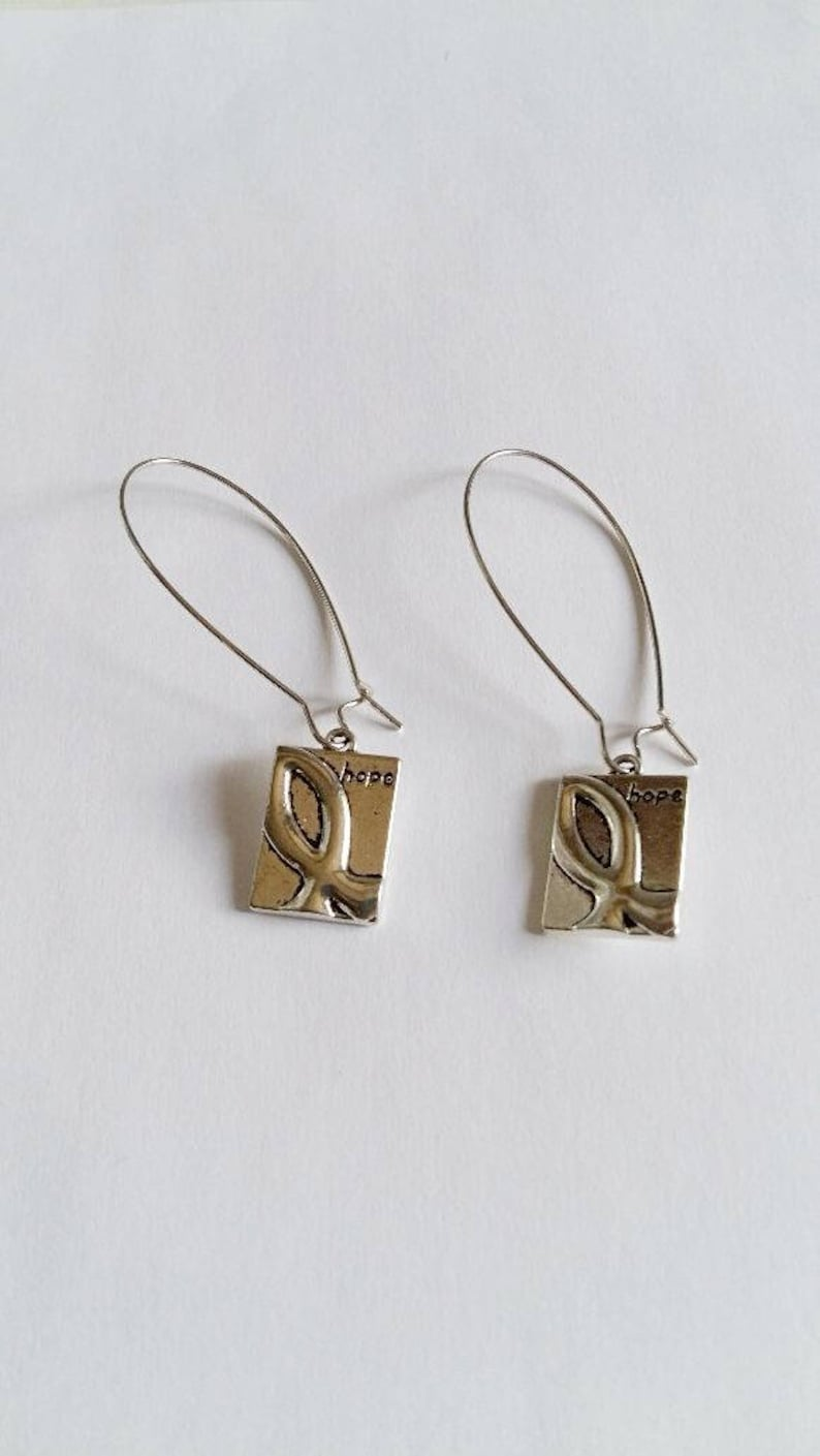 Women Hope Square Hope  Earrings Hope  Earrings Women Silver Tone Hope  Dangle Earrings Long Hook Earrings Health Earrings