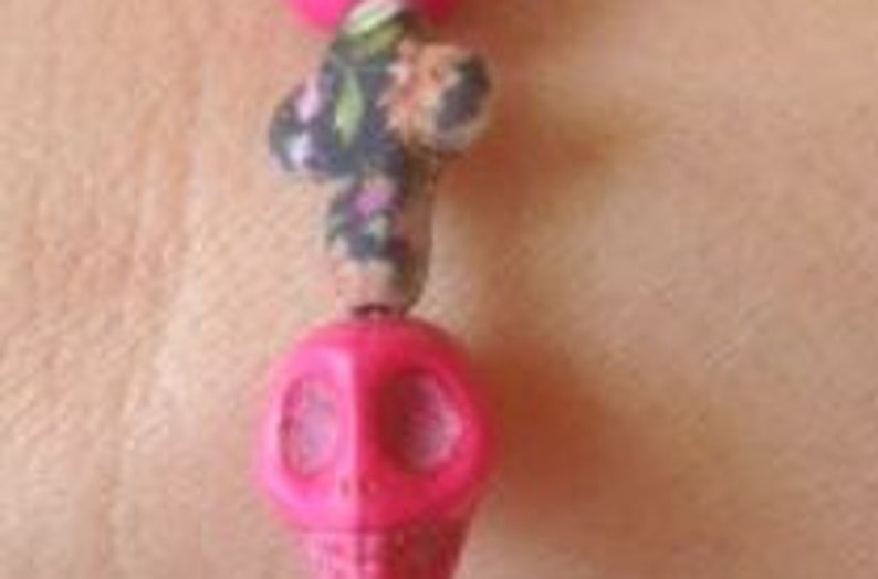 Turquoise Pink Sugar Skull Stone Skulls Inspired  Bracelet Multi Color Cross Day of the Dead Bracelet Dia de Muertos  Bracelet