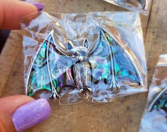 Abalone Shell Bats   Bat Pin   Bat Necklace