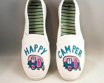 df80f221c0 Hand painted HAPPY CAMPER SHOES