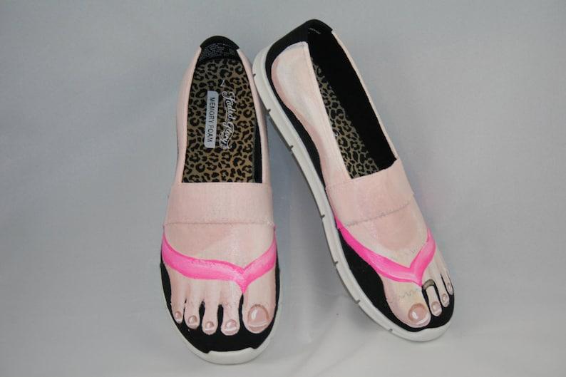 42e2ae86703d Hand PAINTED SHOES Flip Flop Tennis Shoes Feet Shoes