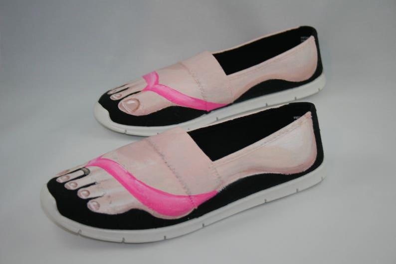 d03eb1b09d2f Hand PAINTED SHOES Flip Flop Tennis Shoes Feet Shoes