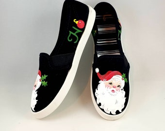 HAND PAINTED CHRISTMAS Shoes, Santa shoes, Baby/Toddler, Child/Youth, and Women's Sizes