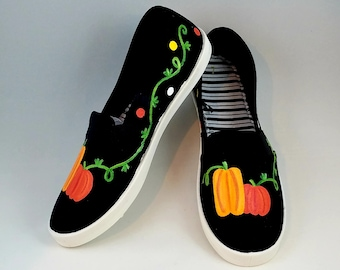 Hand PAINTED SHOES,  Fall Shoes, Pumpkin Shoes, Thanksgiving, Halloween Shoes Baby/Toddler, Child/Youth, and Womens Sizes
