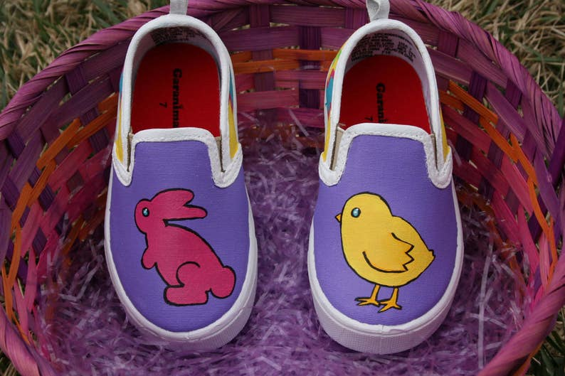 1f9e3d3027bd5 Hand PAINTED EASTER SHOES, Bunny Shoes, Chick Shoes, Baby/Toddler,  Child/Youth, and Womens Sizes